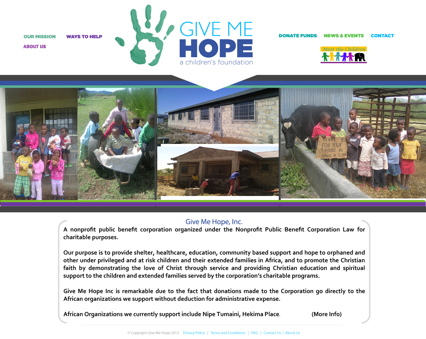 Give Me Hope Inc Page graphic with links and Kenyan Kids